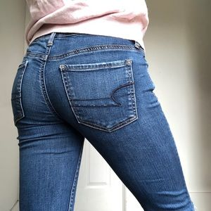 american eagle ripped jegging jeans dark wash